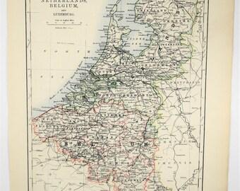 1895 antique netherlands belgium and luxemburg map