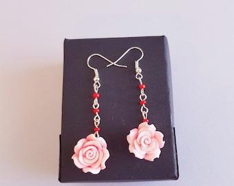 Romantic Pink Rose Silver Dangling Earrings