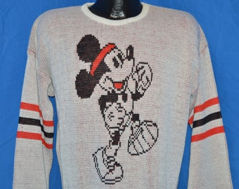 80s Cliff Engle Mickey Mouse Running White Vintage Sweater Large