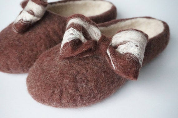 felt clogs shoes bow felted slippers brown slippers Women with womens slippers tie felted felted wool felt clogs slippers home wool felted 7xAqZP