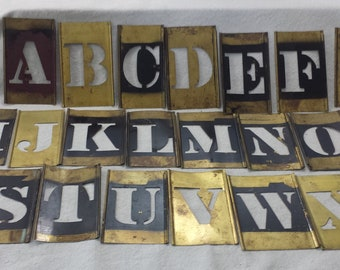 "Vintage Brass Letter Stencils, Complete Alphabet, 4"" Brass Stencils, Initials, Collage, Assemblage, Altered Art, Mixed Media, Craft Supply"