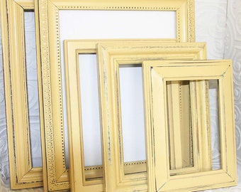 Yellow Picture Frame Set Of Six Painted Light Creamy Yellow