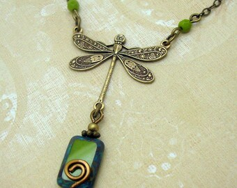 Dragonfly Necklace in the Boho Style with Olive Green Beads