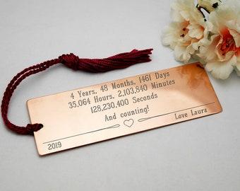Copper bookmark for 4th year boyfriend gift girlfriend gift engraved bookmark copper bookmark 4th year gift custom bookmark customised gift