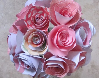 Pink and coral paper flower bouquet