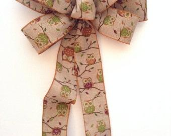 Owl Wreath Bow / Owl Decorative Bow / Natural and Autumn Colors Wreath Bow / Owl Bow / Natural Burlap - Fall Colors Owl Decor Bow / Handmade