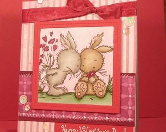 Valentine's Day Card - Handmade Card with Stamped Image of Bunny Couple, Love and Flowers, Be Mine, Wife, Girlfriend, Partner, Spouse, Copic