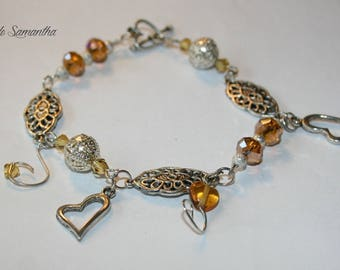 Bracelet hearts with pearls and Topaz Crystal charms or charms