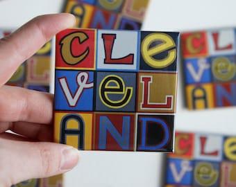 Cleveland, Cleveland Ohio, CLE, Cavs, Cavaliers, Cleveland Magnet, Believeland, Lebron James, NBA Champ, 2.5 inch Square Refrigerator Magnet