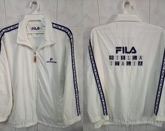 VINTAGE FILA windbreaker Biella Italia Sport / international spell out big logo hip hop rap streetwear zipper sweater