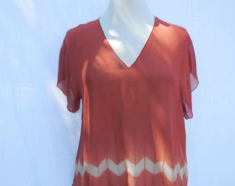 Crimson silk chiffon top