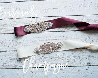 Rose Gold Bridal Belt, Burgundy Bridal Sash, Champagne Rose Gold Sash / Belt, Bridesmaid Belt/ Sash, Gray Bridal Belt/ Maternity Sash / Belt