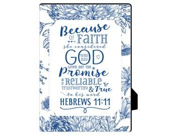 Hebrews 11:11 Scripture, INSTANT Download - printable jpeg, blue type, 8x10, great teacher's gift!