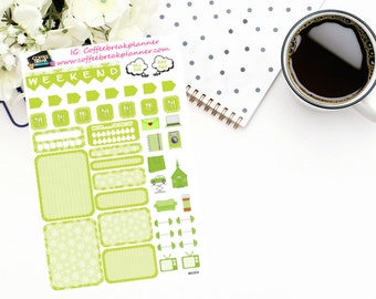 Planner Stickers |Mini Kit in Lime Green|Weekly Mini Kit|Boxes and Icons Weekly Kit|For use in a wide variety of planners and journals|MK004