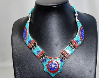 Ethnic jewelry necklace from Nepal Lapis Lazuli Turquoise Coral boho hippie gift for men gift for woman tribal necklace tibet nepal