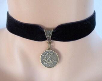 velvet choker, virgo choker, virgo necklace, stretch ribbon, black velvet, star sign, zodiac charm