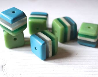 Large vintage striped resin cube beads