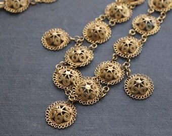 Antique Boho Filigree Cannetille Necklace, Vermeil Floral Beehive Pattern, Gold Gilt Wash, Vintage Filigree Necklace, Boho Necklace