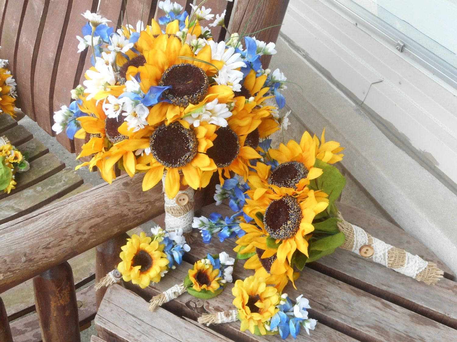 12 Pc Sunflowers And Texas Bluebonnets Rustic Wedding