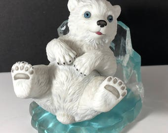 POLAR BEAR FIGURINE Hamilton collection Little Friends of the Arctic ice sculpture statue 1995 vintage Playful Prince lying on back sled