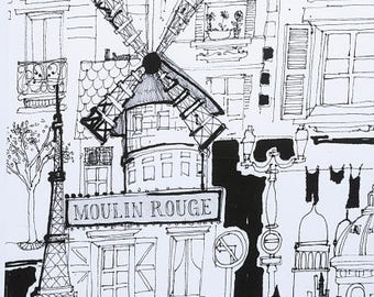 Alexander Henry Fabric, Moulin Rouge, Alexander Henry, By the yard, Paris Fabric, Eiffel Tower, Cotton, The Fabric Edge