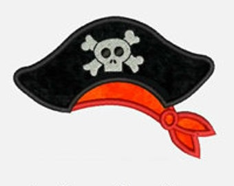 Pirate Hat...Embroidery Applique Design...Three sizes for multiple hoops...Item1056....INSTANT DOWNLOAD