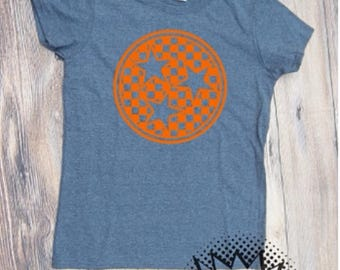 Tri-Star Monogram Tennessee T-shirt  Adult Shirt tri star tristar TN Volunteers State Monogram Orange White