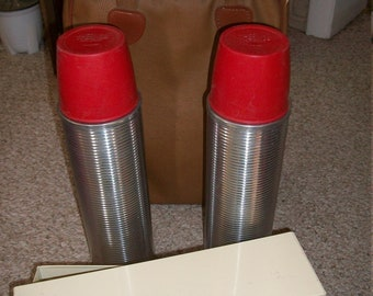 Vintage Thermos Bottle Picnic/Travel Set...2 Thermos Bottles and Sandwich Box...Very Good Condition...