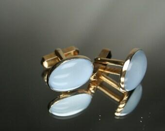 Vintage Gold Tone and Light Blue Glass Cufflinks - Swank