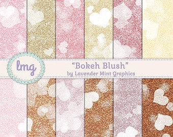 Boho Gold Digital Scrapbooking Paper, Watercolor Paper, Glitter Background, Background Paper, Bokeh Effect, Instant Download, Commercial Use