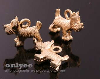 4pcs-16mmX11mmMatte 16K Gold plated over Brass cute Puppy, Dog,Pendants,Connenctor(K660G)