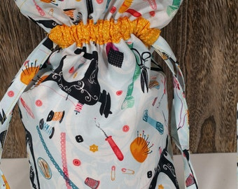 Small Singer themed Fabric Drawstring Project Bag