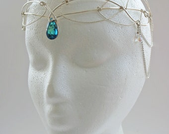 ELVISH CIRCLET- headpiece ,circlet, festival wear, costume,- OOAK, *made to order*-arwen style headpiece with chains