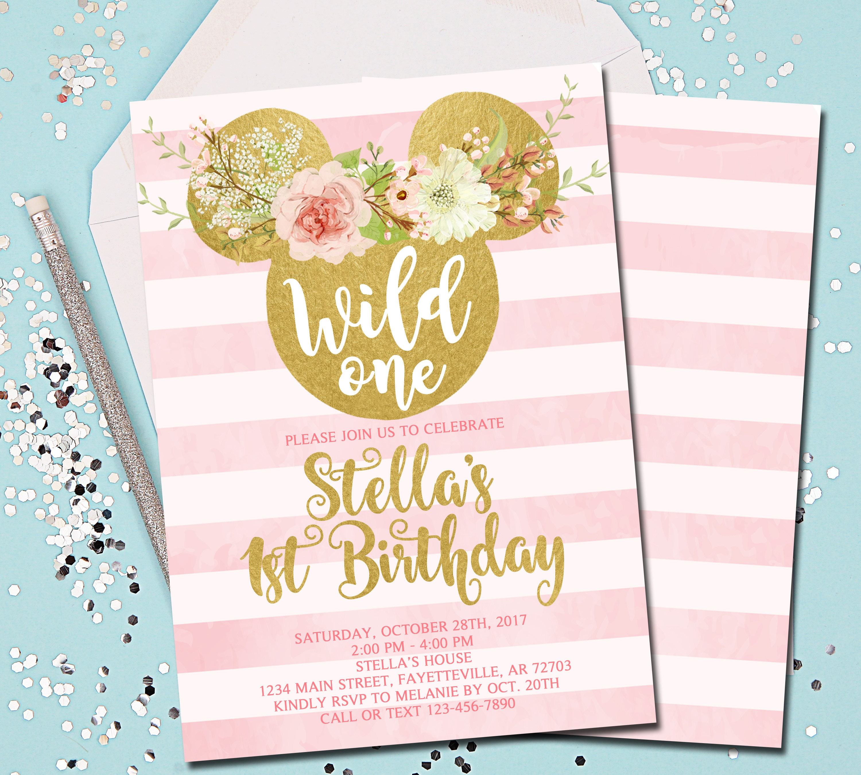 Minnie Mouse Birthday Invitation Wild One Wild One
