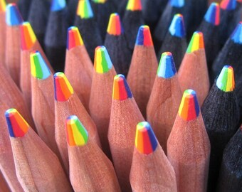 Rainbow Color Pencils / Rainbow Pencils / Natural Wood Rainbow Pencils / School Supplies  / 7 Colors in one pencil / Cute Rainbow Pencils