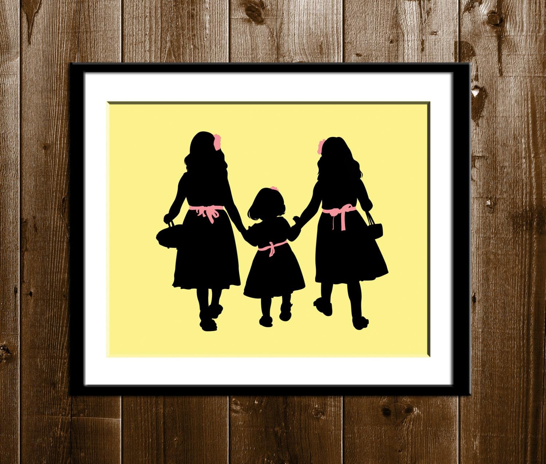3 hermanas silueta arte regalo de día de San Valentín 3