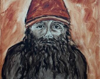 Original Oil Painting Burnt Sienna Umber Oil Wash Artwork Jewish Man Portrait Noyo Harbor Fort Bragg California Artist Fisherman Gifts USA