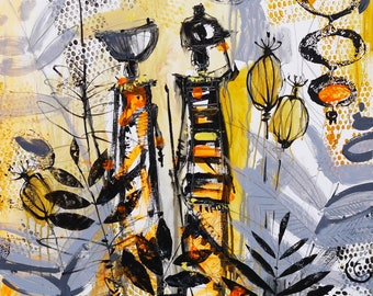 Original African Tribal Painting Canvas Wall Art | Figurative Tribal Women | Signed and Dated by Artist