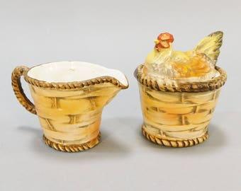 1950's 1960's Vintage Lefton's Chicken Hen on Basket Nest Porcelain Cream and Sugar Set Hand Painted Made in Japan