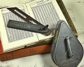 Vintage tools strait line chalk line reel universal bevel workshop handyman man cave