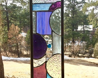 PURPLE Stained glass GARDEN STAKE