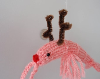 Christmas reindeer  shrimp hand knitted red nose and antlers ....long feelers