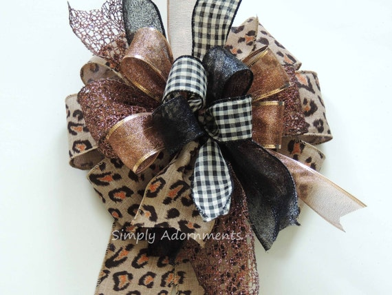Leopard Birthday Gift topper Bow Brown Bronze Leopard Party decor Leopard door Bow Funky Leopard Christmas Bow Funky Leopard wreath Bow