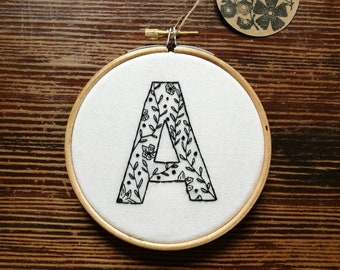 Hand Embroidered Hoop - 4 inch hoop - Black Work Letter A