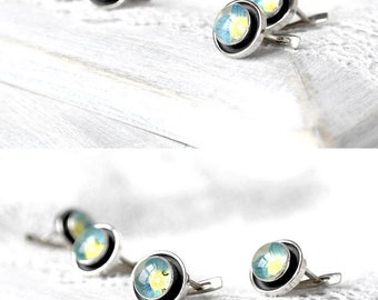 Real flower earrings Small earrings Baby blue earrings cool gift for birthday Silver earrings for sister Minimalist jewelry for womens gift