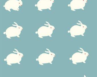 "NEW Birch White Rabbit on Organic Cotton Interlock 42-44"" wide per yard"