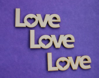 Wood Love Shapes - Love Ornament - Wedding - Wood Shapes - Wooden Accessories - Scrap booking - Card making - Craft supplies