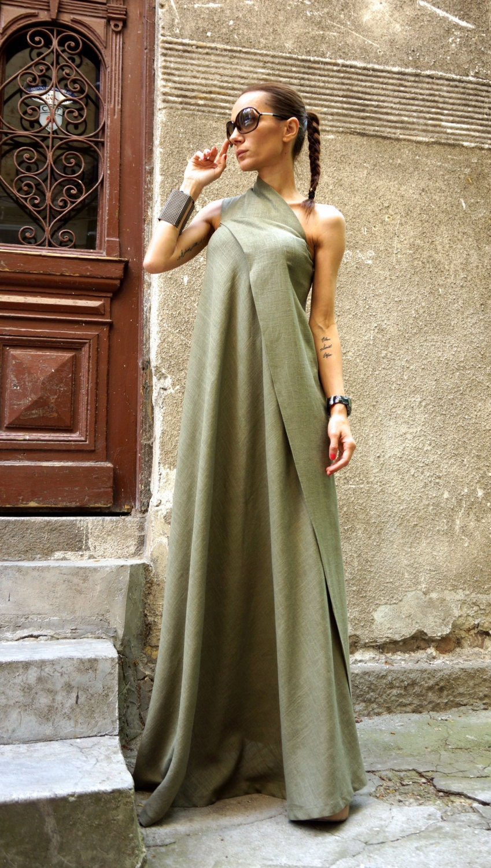 New Maxi Dress Olive Green Kaftan Linen Dress One