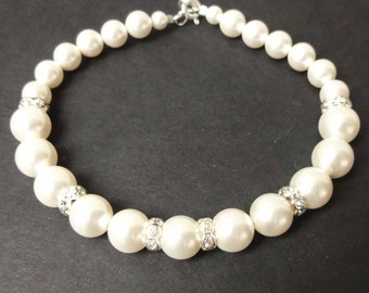 Classic Bridal Wedding Bracelet, Single Strand Pearl Crystal Wedding Bracelet, Simple Pearl Bridal Bracelet, Wedding Bridal Jewelry, GRACE