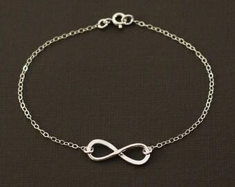 Silver Infinity Bracelet - Hand Hammered Sterling Silver